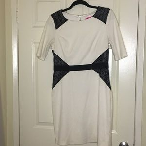White Dress with Black Accent - Betsey Johnson